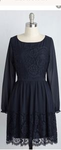 Modcloth Navy blue lace dress with long sleeves